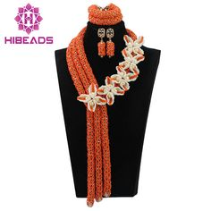 >> Click to Buy << Nigerian Women Wedding Orange Crystal Flowers African Beads Jewelry Set Lady Statement Necklace Earrings Free Shipping ABL605 #Affiliate