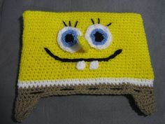 Sponge Bob Beanie Sizes 6 to 8 months 1 to 4 by MeladorasCreations