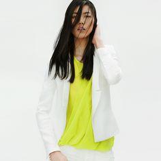 white blazer + neon