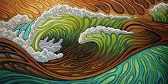 """""""Surface Tension"""" by Matt Beard Abstract Drawings, Abstract Art, Abstract Paintings, Beard Art, Sea Life Art, Surf Design, Ocean Art, Ocean Waves, Art Sculpture"""