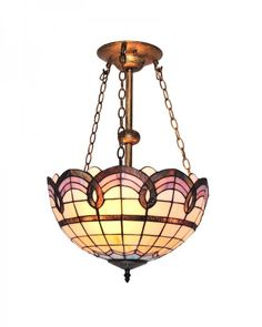 Amazing Tiffany Style Chandelier Lighting with Grids and Waves Pattern Stained Glass Shade