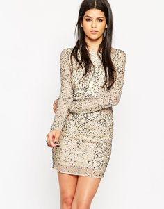 Rock & Religion Embellished Long Sleeve Body-Conscious Dress With Scoop Back