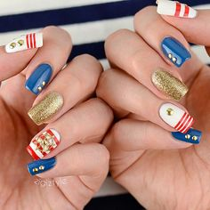 Nautical mani with studs and glitter ===== Check out my Etsy store for some nail art supplies https://www.etsy.com/shop/LaPalomaBoutique