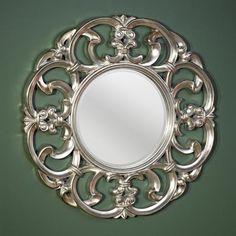Fancy Mirror   Garland Silver Decorative Round Framed Wall Mirror by Deknudt Mirrors ...
