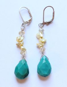 Vintage Sterling Silver, Turquoise & Pearl Dangle or Drop Earrings by paststore on Etsy