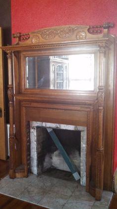 Early Twentieth Century Antique Oak Fireplace Mantel with Mirror