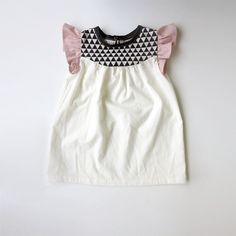 girls' cotton dress with geo print detail