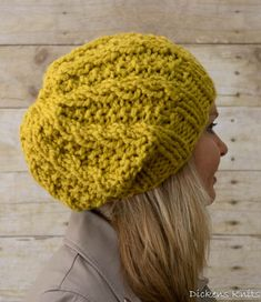 Chunky Slouchy Beanie Knit Slouchy Hat Wool by DickensKnits