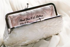 Personalized Custom Embroidery inside Bridal or Bridesmaids Clutch Bag - 2 lines. Bridal Clutch Bag, Wedding Clutch, Clutch Bags, Bridesmaid Clutches, Bridesmaid Gifts, Bridesmaids, Gifts For Wedding Party, Wedding Ideas, Party Gifts
