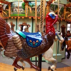 Turkey figure on the Bear Mountain Carousel.  Very cool!  Love my job of doing touch up artwork & varnish on carousels!!!!