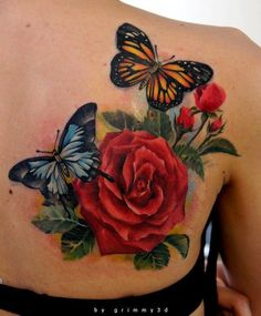 3d butterfly tattoos for women | Two butterflies pose with a red rose flower in this colorful tattoo ...