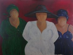 Three lady's Acryl painting 60 x 80 Drie dikke dames