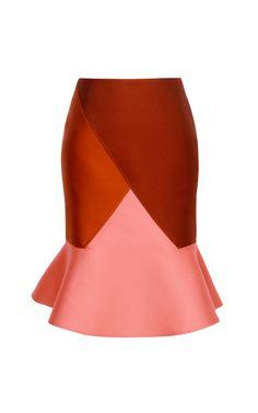 Shop Doubleface Jacquard Diagonal Flare Skirt In Rust by Ostwald Helgason - Moda Operandi