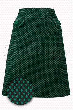 Wow To Go! - 60s Retro Stern A-Line Skirt in Green