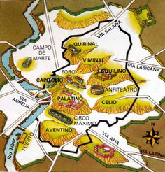 Depiction of the seven hills of Rome, even though Romans themselves couldn't seem to be able to decide which hills they were exactly. Historical Architecture, Historical Maps, Ancient Architecture, Ancient Rome, Ancient History, Roman Gladius, Rome Map, Italy Destinations, Roman Legion