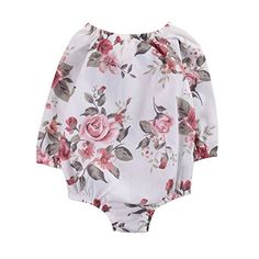 Weixinbuy Newborn Baby Girls Floral Long Sleeve Romper Bodysuit Jumpsuit