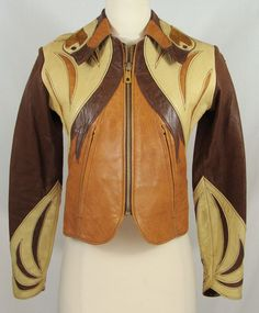 Rare Vintage 60s/70s EAST WEST MUSICAL INSTRUMENTS Leather Parrot Jacket Sz XS/S #EastWestMusicalInsruments