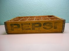 Pepsi pop bottle crate with yellow wood and by SouvenirAndSalvage