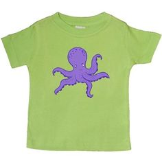 Inktastic Purple Octopus Baby T-Shirt Ocean Animal Vacation Summer T-shirt Infant Tees Shower Gift Clothing Apparel, Infant Boy's, Size: 12 Months, Green