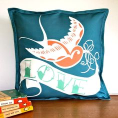 Swallow Tattoo Love Cushion Cover from notonthehighstreet.com
