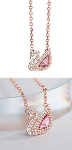 Swan the Silver/ZirconStyle:Romantic/Lover Gift/Girlfriend Gift/Cute/FashionFashion Element:Swan/Pink Crystal Pretty Necklaces, Cute Necklace, Girls Necklaces, Simple Necklace, Pearl Statement Necklace, Silver Pendant Necklace, Cheap Jewelry, Gift For Lover, Fashion Necklace