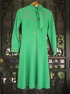 Green Vintage Day Dress With Buttons by vintapod on Etsy, $18.00