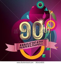 90th Anniversary, Party poster, party invitation - background geometric glowing element. Vector Illustration - stock vector