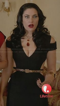 Wendy's black gown with cutout detail at Freya's wedding on Witches of East End.  Outfit Details: http://wornontv.net/24371/ #WitchesofEastEnd
