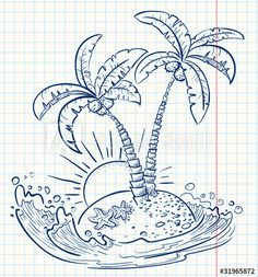 Tree Drawing Simple, Palm Tree Drawing, Doodle Bullet Journal, Cartoon Palm Tree, Palm Tree Images, Surfboard Painting, Tree Sketches, Tree Wallpaper, Watercolor Trees