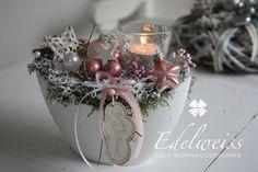 Weihnachtsdeko - Adventstischdeko ein Hauch von rosa - ein Designerstück von EDELWEISS-DEKO bei DaWanda