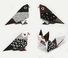 DIY Kit MIX, 9 birds and 3 foxes, pattern No.1-3, 12 folding drafts & instruction (paper, video) on Etsy, $15.00