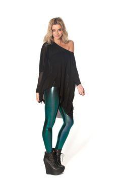 Oil Slicks Green Leggings by Black Milk Clothing