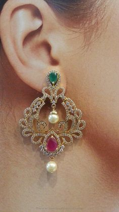One Gram Gold Ruby Emerald Earrings, Ruby Emerald Earrings, One Gram Gold Earrings - Gift for women and girls, wedding Gold Jhumka Earrings, Jewelry Design Earrings, Gold Earrings Designs, Gold Diamond Earrings, Emerald Earrings, White Earrings, Chandelier Earrings, Diamond Jewelry, Gold Jewellery