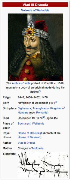 Vlad The Impaler, the real Dracula.