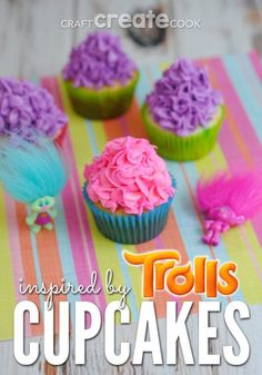 These cute Trolls Cupcakes are a perfect way to celebrate the Dreamworks Trolls movie!