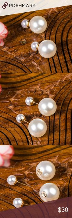 NWT | 🌞🆕🌹| Reversible Pearl Stud Earrings Gorgeous earrings, that actually are two pairs because they are reversible. You can wear the small spheres in the front or the larger spheres in the front, which ever one you are feel that day 😍. Never worn, in store condition, have a sturdy post making them fit very comfortably. Not too heavy, made of Alloy, have gold fixtures that are not visible when wearing if you don't want them to be | Price is always negotiable, and I love offers! If you…