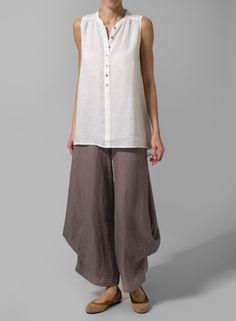 3b69190e53 Linen Mandarin Collar A-Line Sleeveless Shirt