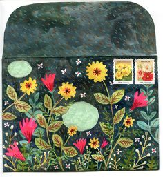 phoebewahl:  I painted this envelope today to send to a friend. Phoebe Wahl 2013
