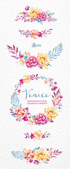 Venice. Watercolor floral Bouquets and Wreath by OctopusArtis
