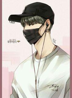 Suga in Fanart ♥ Draw Bts, V Chibi, Anime Boy Zeichnung, Sketch Style, Bts Anime, Fanart Bts, Kpop Drawings, Handsome Anime, Cute Anime Guys