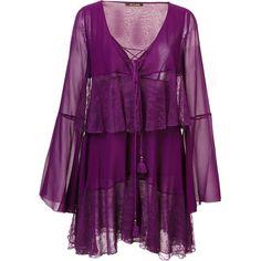 Roberto cavalli - tiered lace up dress (177.485 RUB) ❤ liked on Polyvore featuring dresses, purple silk dress, purple cocktail dresses, roberto cavalli, purple dresses and roberto cavalli dresses