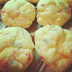 Cake Batter Cookies.   1 package of Pillsbury Funfetti Premium Cake Mix  2 eggs  1/3 cup oil    Yes, that really is it.
