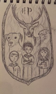 Harry Hermione And Ron With Their Patronus I Drew It In The Car Coming