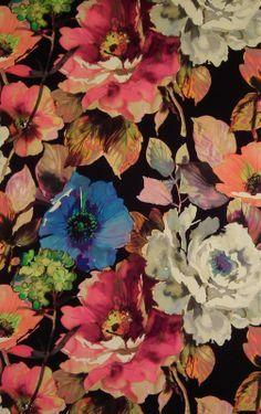 floral birds wallpaper black - Google Search
