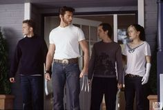 Wolverine with Iceman, Pyro, and Rogue (X2)      Mr. Drake: What exactly are you a professor of, Mr. Logan?     Logan/Wolverine: ..Art.