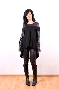 Hooded Black Tunic / Loose Leather Jersey Tunic / by JMSTYLE