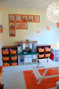 Family Ever After....: Orange and White Playroom Reveal