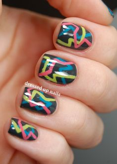 Dressed Up Nails: Geometric challenge day 6 - 80s party nails