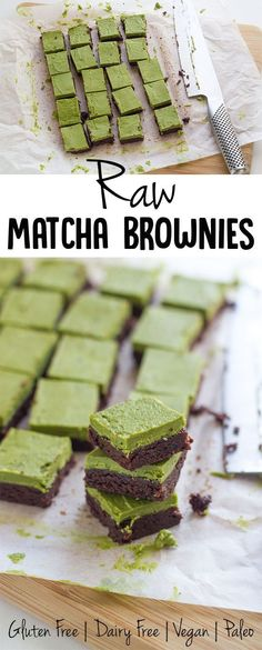 Top 5 Recipes of 2016 Coming in at number 5 is Raw Matcha Brownies For these B. - Top 5 Recipes of 2016 Coming in at number 5 is Raw Matcha Brownies For these B. Top 5 Recipes of 2016 Coming in at number 5 is Raw Matcha Brownies F. Healthy Vegan Dessert, Raw Vegan Desserts, Raw Vegan Recipes, Healthy Sweets, Vegan Foods, Paleo, Dairy Free Recipes, Cooking Recipes, Gluten Free