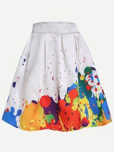 White Paint Splatter Print Box Pleated Skirt